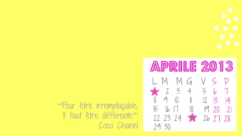 Desktop with calendar April 2013 free download freebie