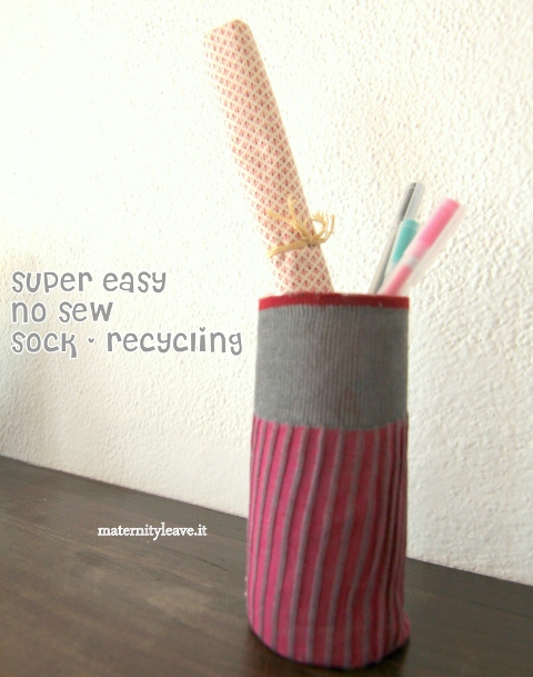 sock recycling project no sew pen holder
